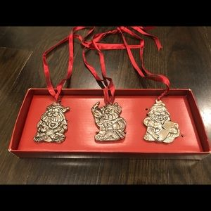 Gorham- set of three silver plated Santa ornaments
